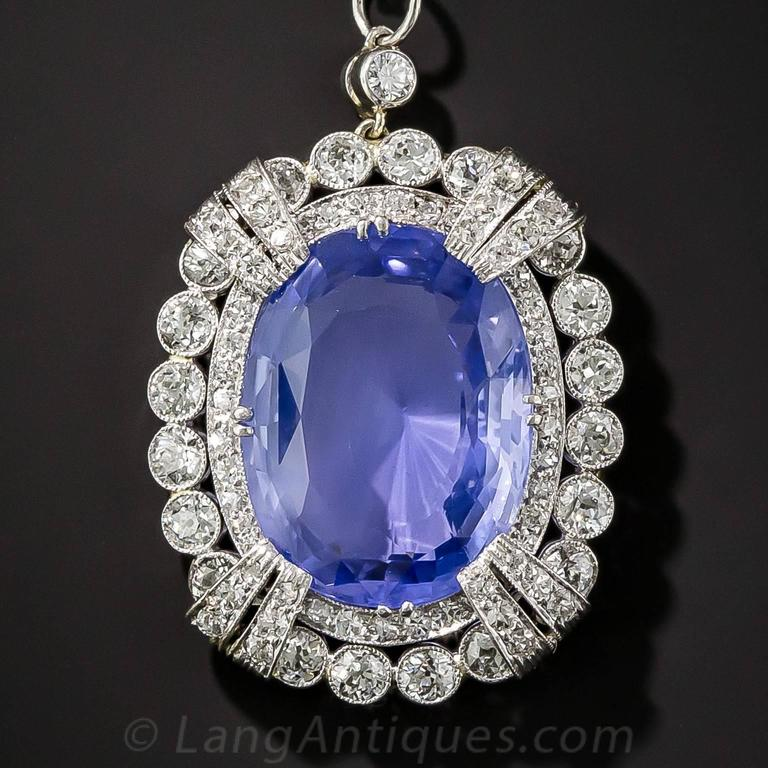 15.65 Carat Unheated Ceylon Sapphire Art Deco Diamond Platinum Necklace 2