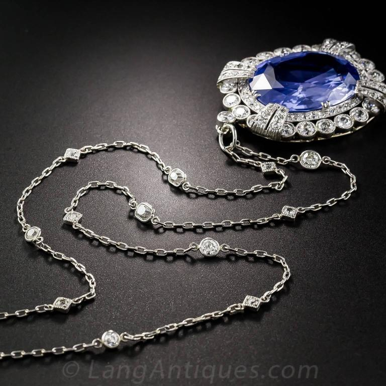 15.65 Carat Unheated Ceylon Sapphire Art Deco Diamond Platinum Necklace 6