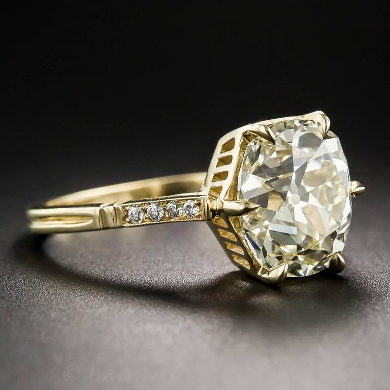 4 10 Carat Cushion Cut Diamond Gold Ring at 1stdibs