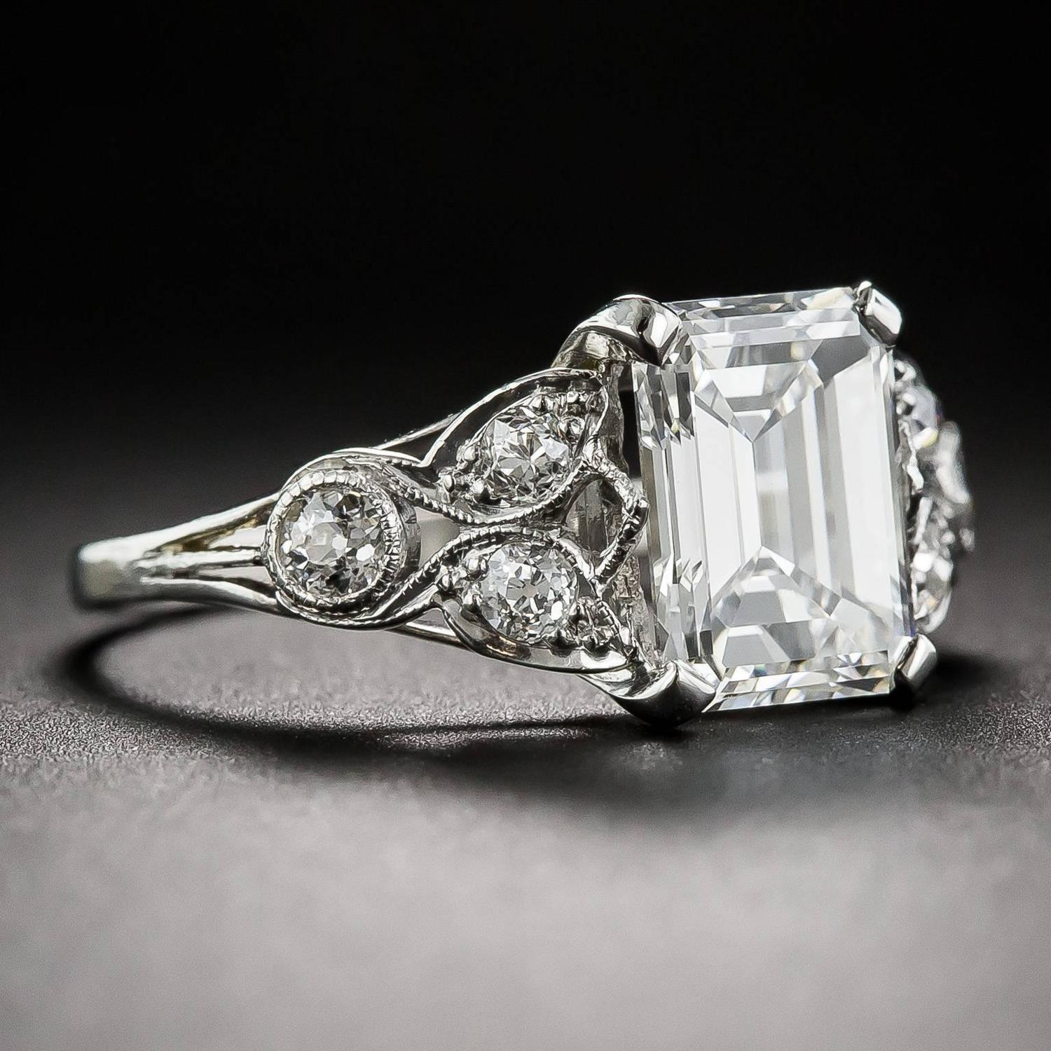 Art Deco 2 03 Carat GIA Cert Emerald Cut Diamond Engagement Ring For Sale at