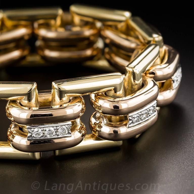 Women's or Men's Bold Diamond Tricolor Gold Retro Geometric Link Bracelet For Sale