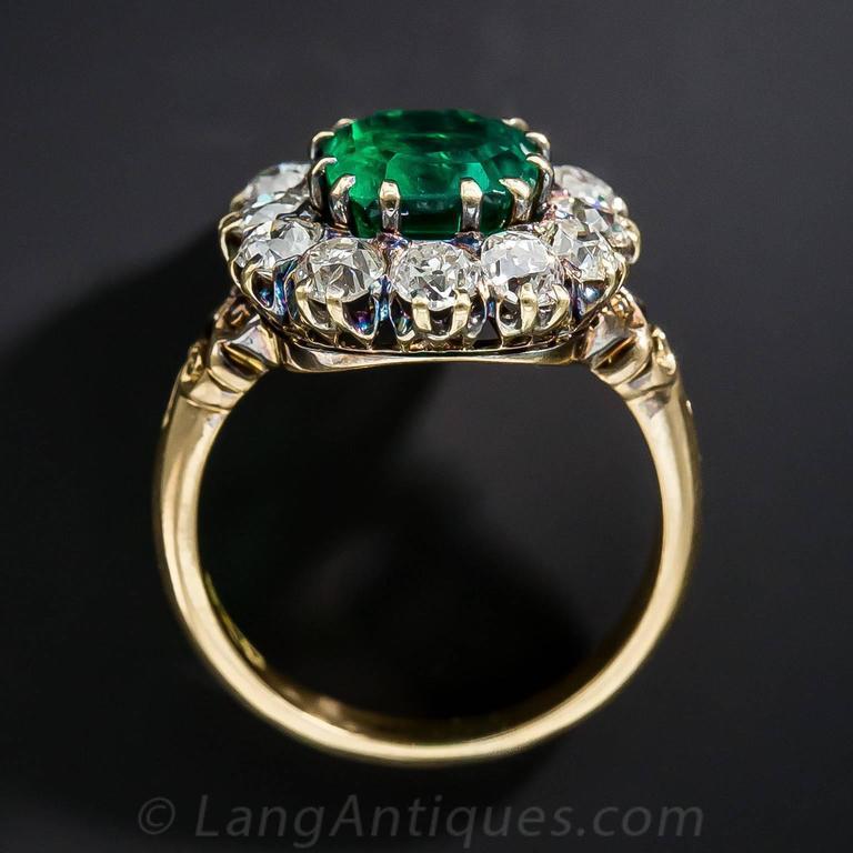 Victorian 2.75 Carat Emerald Diamond Gold Cluster Ring 6