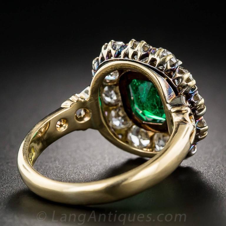 Victorian 2.75 Carat Emerald Diamond Gold Cluster Ring 5
