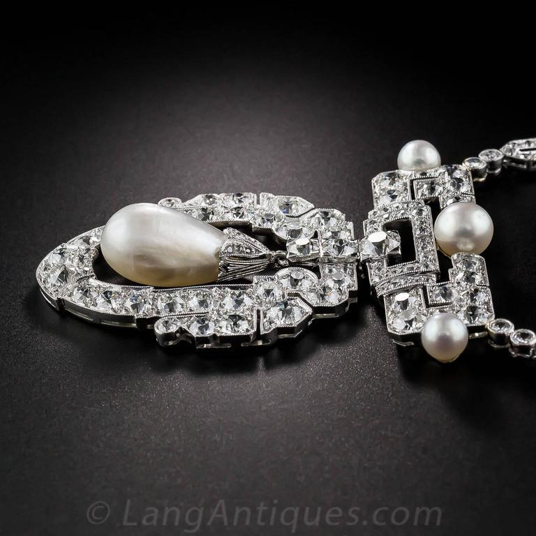 1920s Spectacular Art Deco Natural Pearl Diamond Platinum Necklace - GIA 6