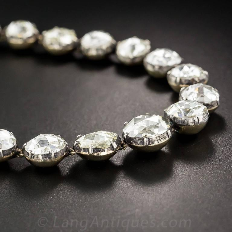 Women's or Men's Spectacular 22.50 Carats Rose-Cut Diamonds Bracelet For Sale