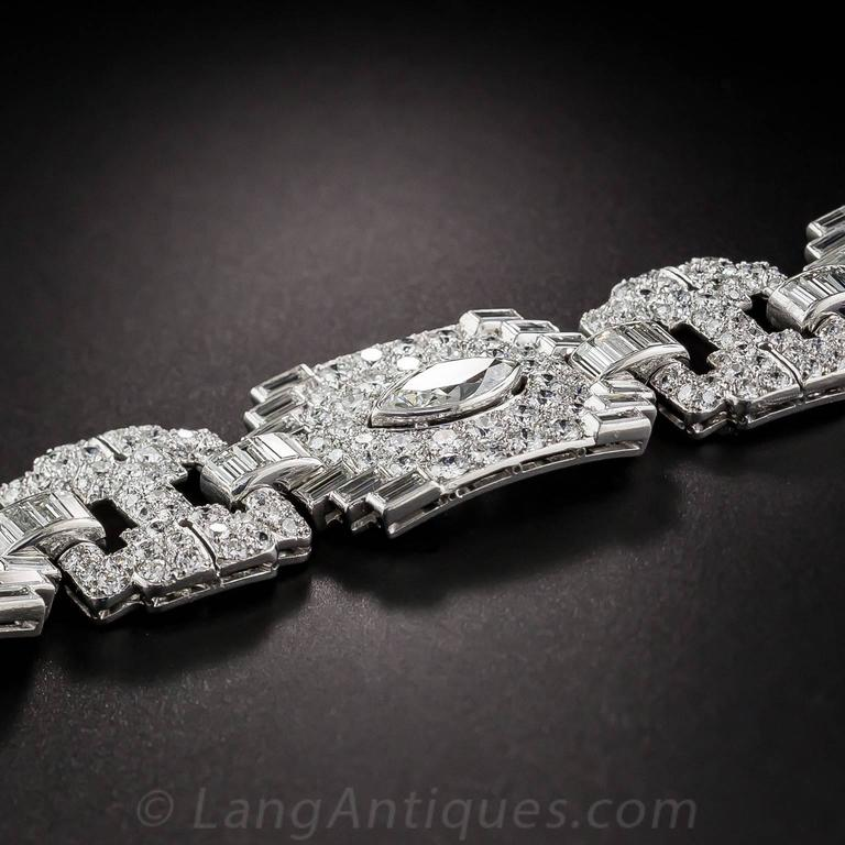 Art Deco Exceptional 23 Carats Diamonds Platinum Bracelet 4