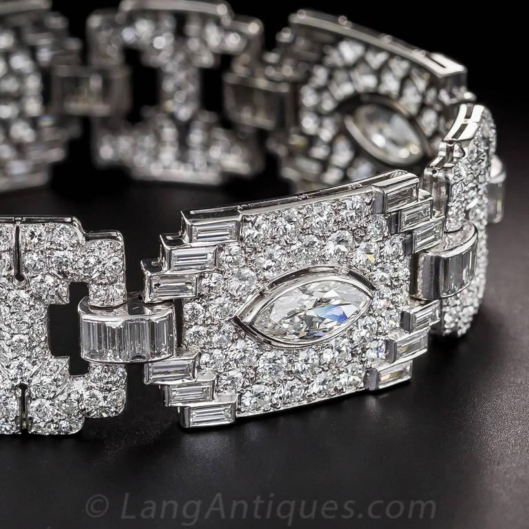 Art Deco Exceptional 23 Carats Diamonds Platinum Bracelet 5