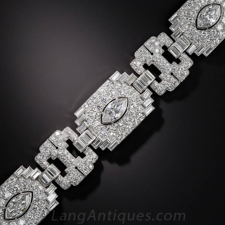 Art Deco Exceptional 23 Carats Diamonds Platinum Bracelet 2