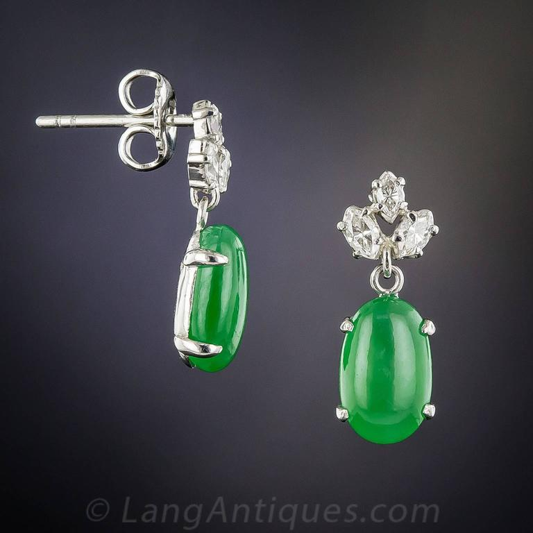 Natural Jadeite Diamond Platinum Earrings 3