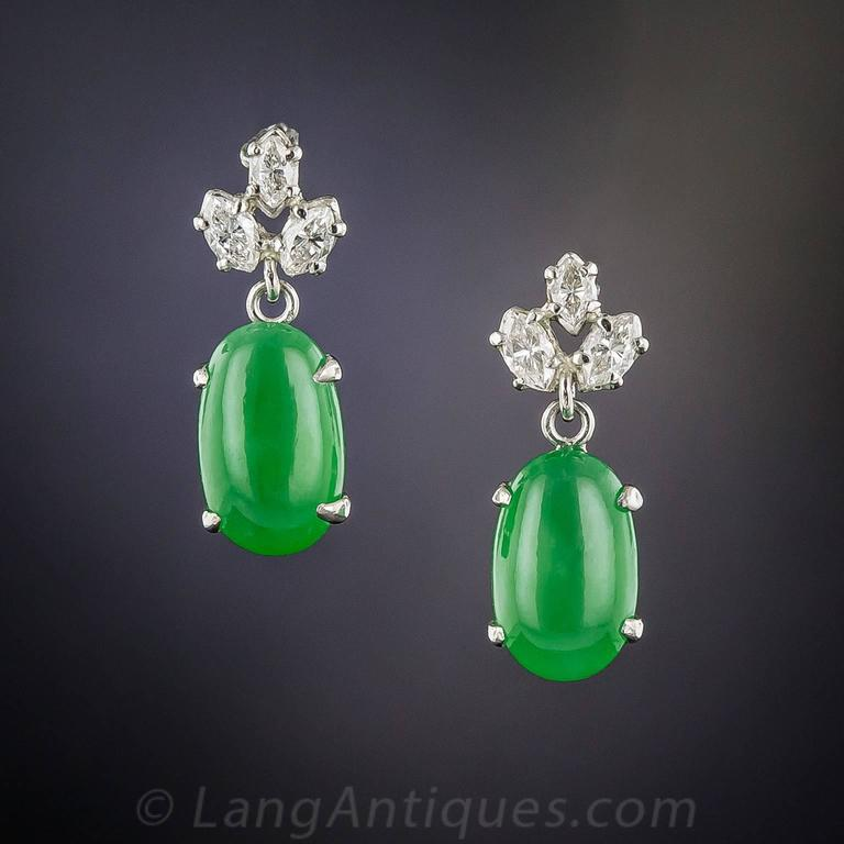 Natural Jadeite Diamond Platinum Earrings 2
