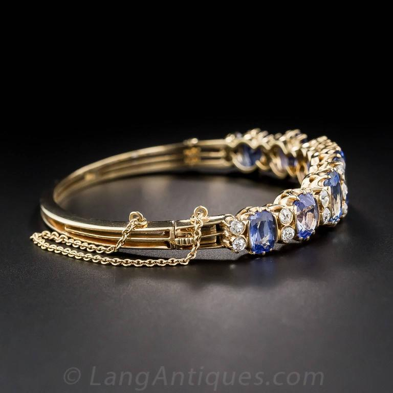 18 Carats No-Heat Ceylon Sapphire Diamond Gold Bangle Bracelet 4