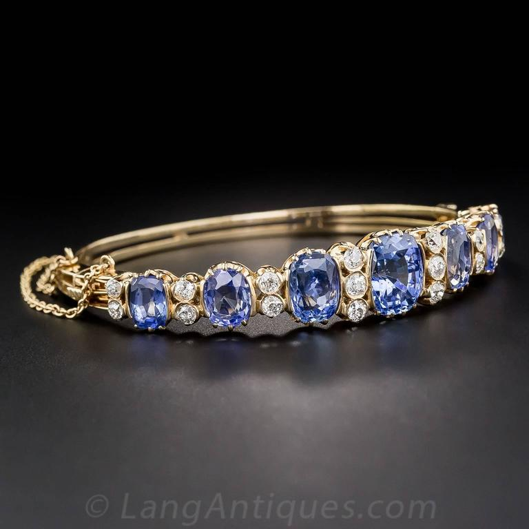 18 Carats No-Heat Ceylon Sapphire Diamond Gold Bangle Bracelet 3