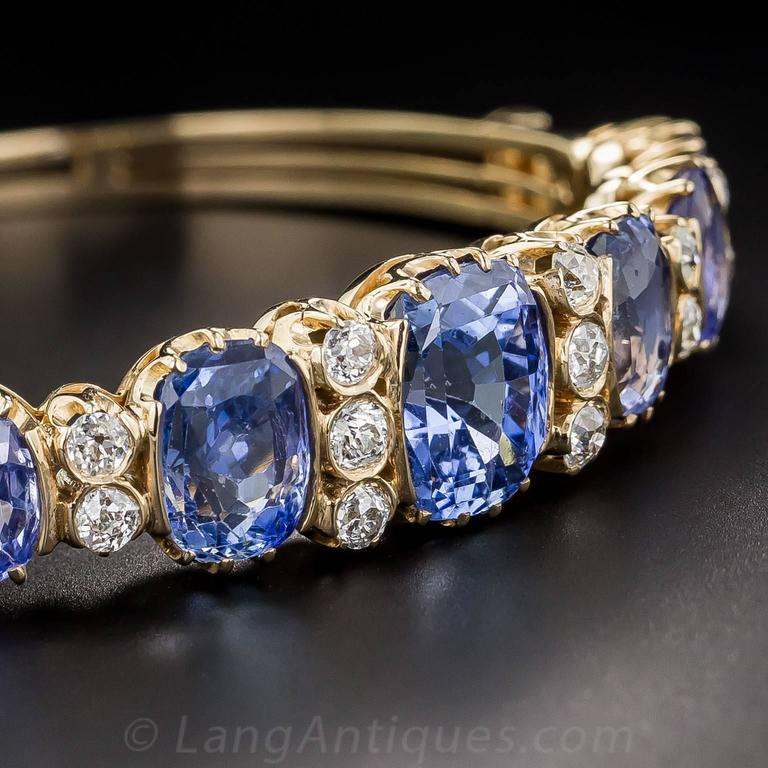 18 Carats No-Heat Ceylon Sapphire Diamond Gold Bangle Bracelet 5