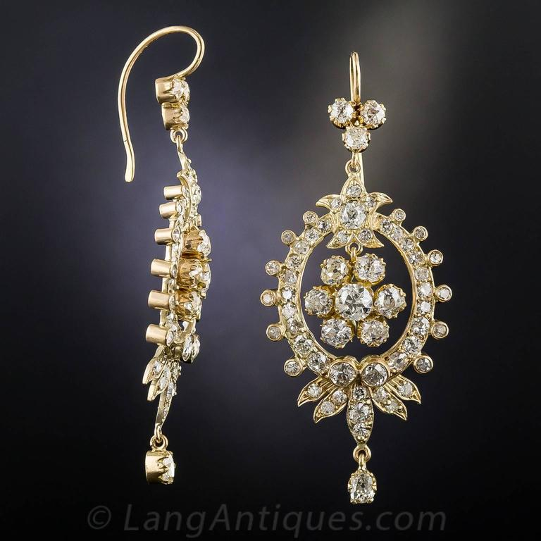 Victorian Diamond Gold Chandelier Earrings 3
