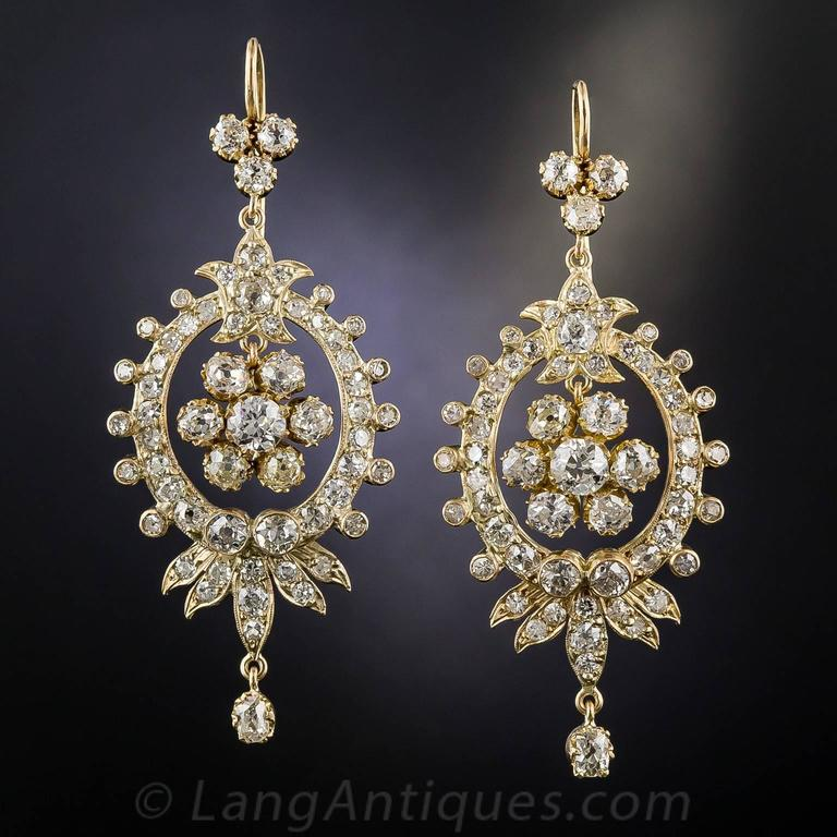 Victorian Diamond Gold Chandelier Earrings 2