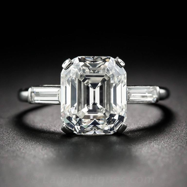 1930s 4 57 Carat Gia G Vs1 Emerald Cut Diamond Ring For