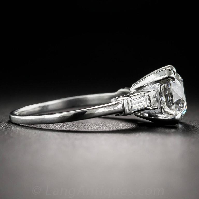 2.01 Carat GIA European-Cut Diamond Platinum Engagement Ring  In Excellent Condition For Sale In San Francisco, CA