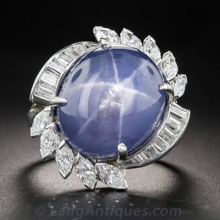 25 00 Carat Ceylon No Heat Star Sapphire Diamond Ring For