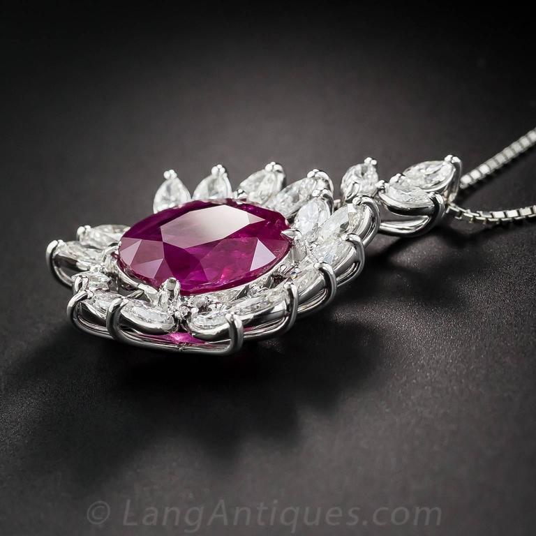 7.71 Carat Burma Ruby Platinum Diamond Pendant In Excellent Condition For Sale In San Francisco, CA