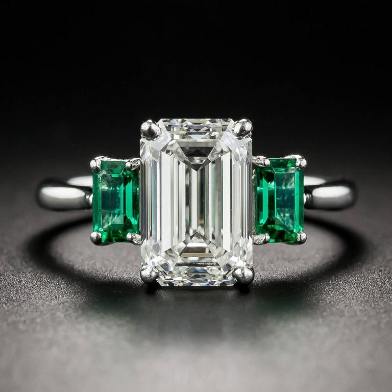 3.01 Carat GIA Emerald-Cut Diamond and Emerald Ring 2