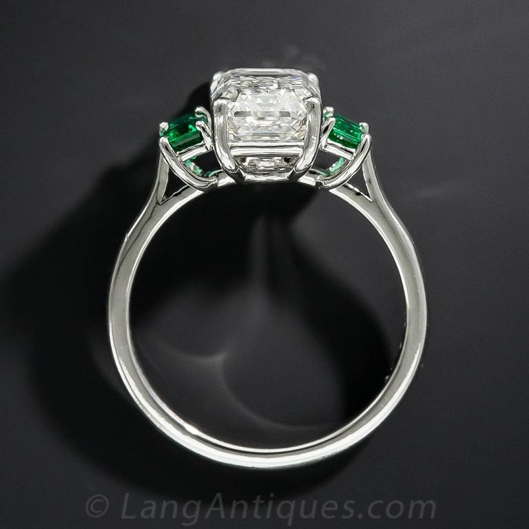 3.01 Carat GIA Emerald-Cut Diamond and Emerald Ring 6