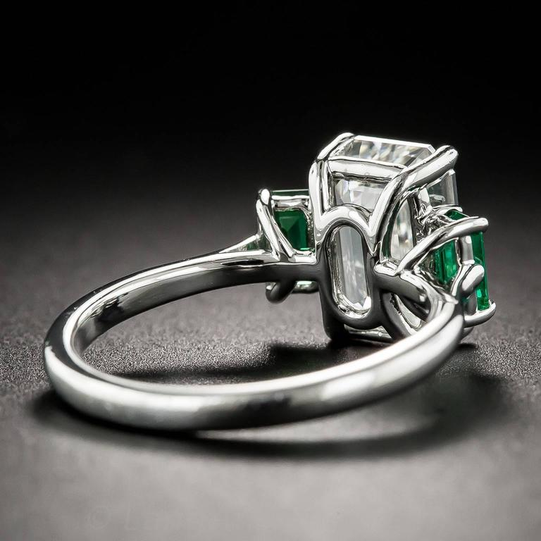 3.01 Carat GIA Emerald-Cut Diamond and Emerald Ring 5