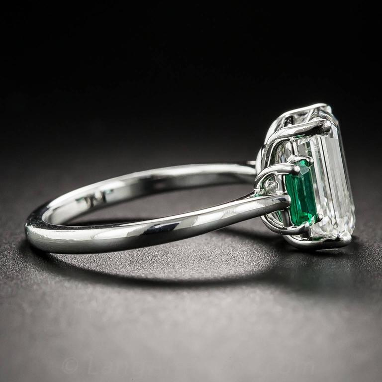 3.01 Carat GIA Emerald-Cut Diamond and Emerald Ring 4