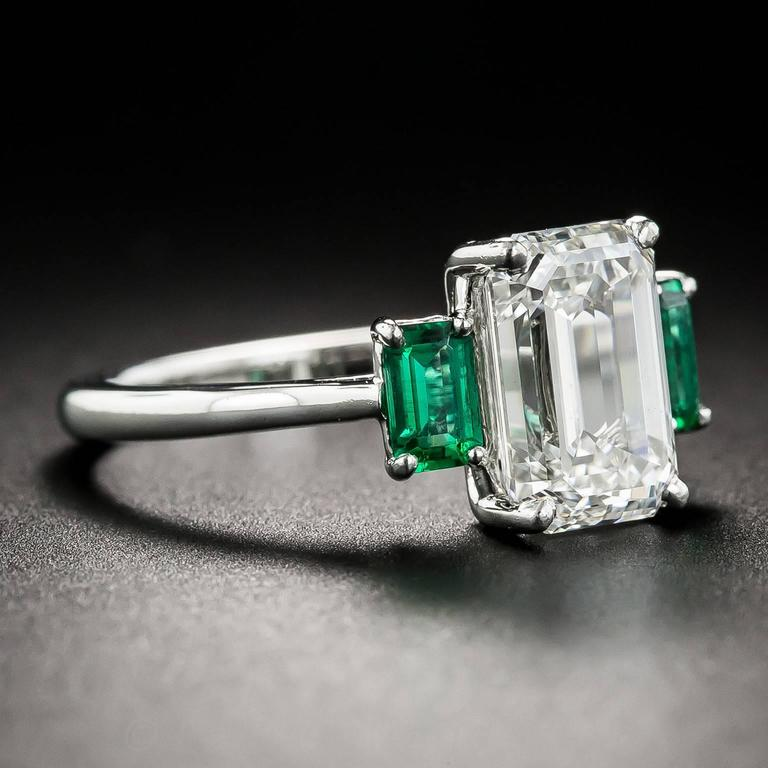 3.01 Carat GIA Emerald-Cut Diamond and Emerald Ring 3