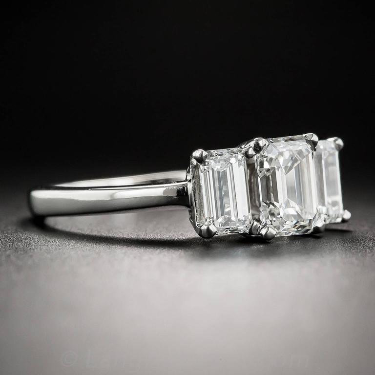 Stone Emerald Cut Diamond Platinum Ring