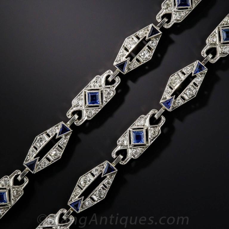 Stunning and versatile, three-in-one, original Art Deco jewels, dating back to the roaring, wild and stylish 1920s, may be worn together as a 15-inch-long choker necklace or separately as bracelets. The characteristic geometric platinum links