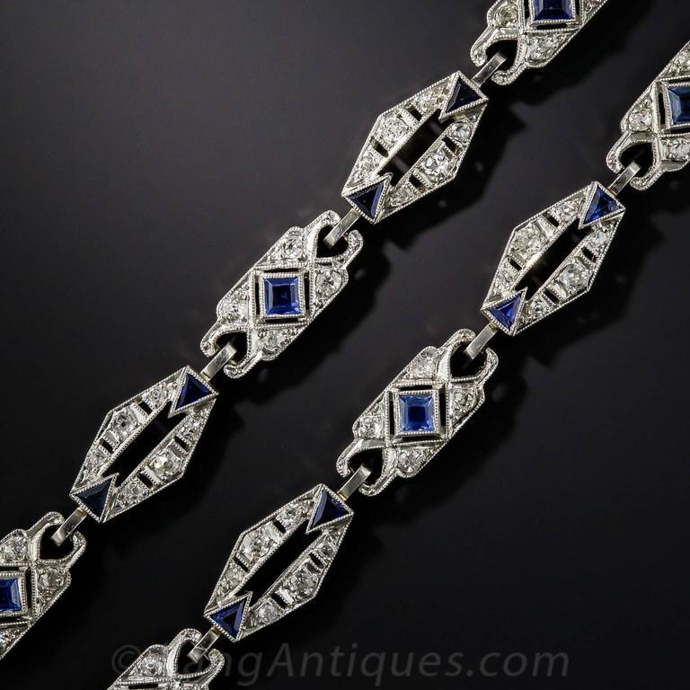 Art Deco Sapphire Diamond Platinum Convertible Bracelets Necklace 2