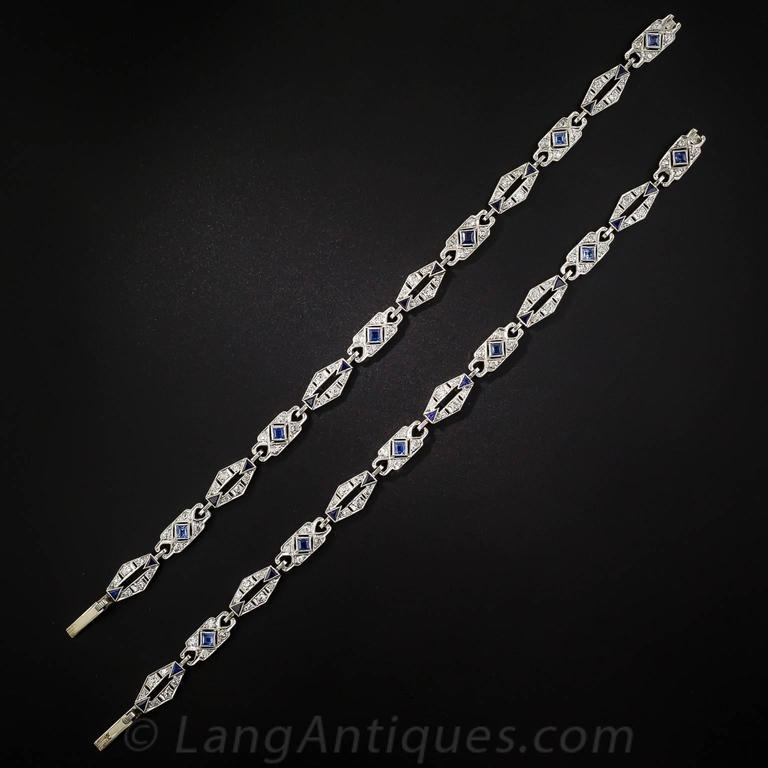 Art Deco Sapphire Diamond Platinum Convertible Bracelets Necklace 3