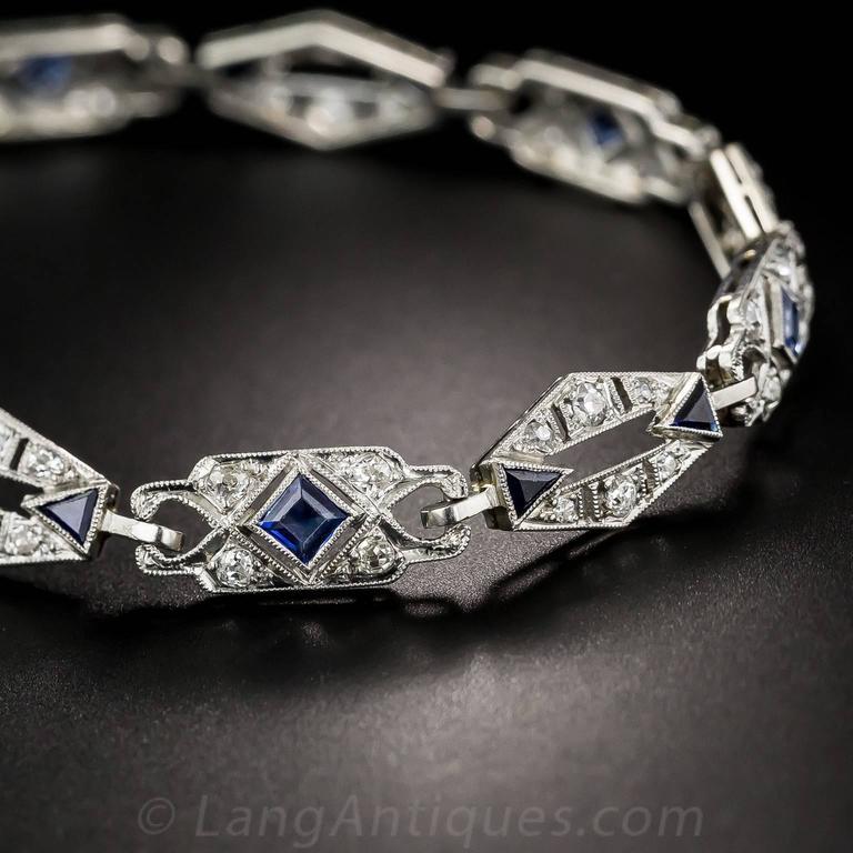 Women's or Men's Art Deco Sapphire Diamond Platinum Convertible Bracelets Necklace For Sale
