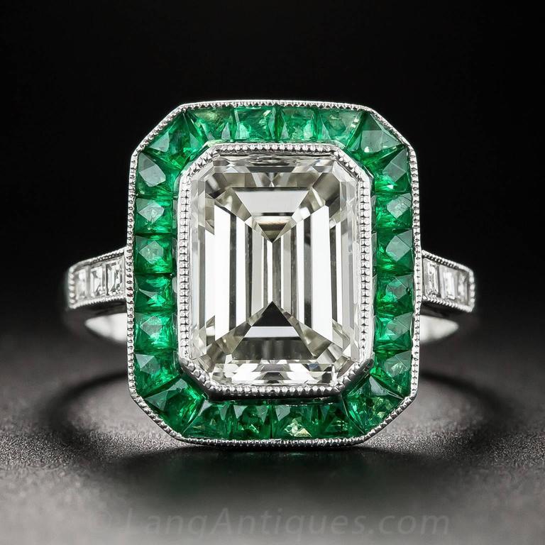 3.00 Carat Emerald-Cut Diamond Emerald Calibre Halo Ring 2