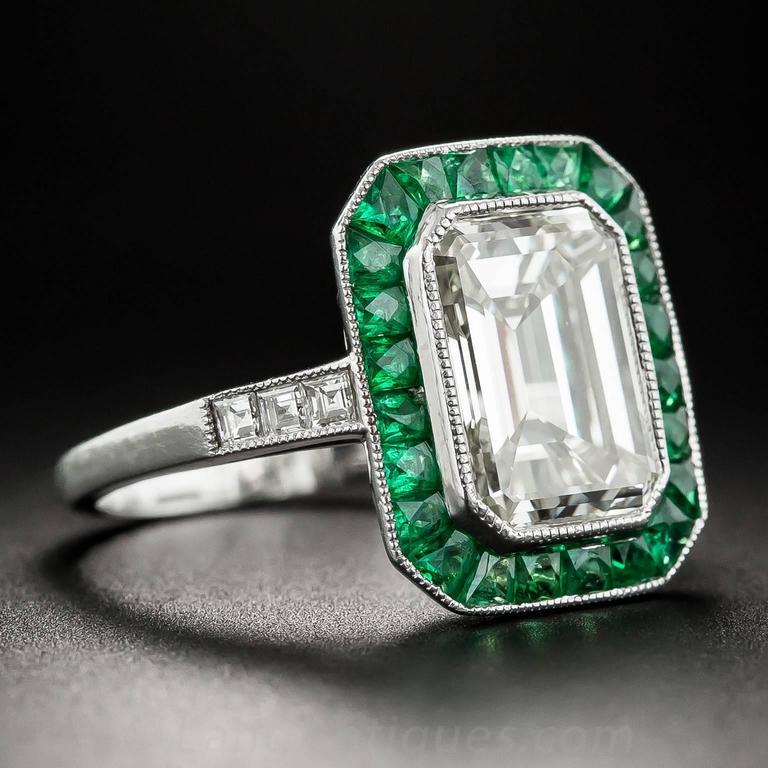 3.00 Carat Emerald-Cut Diamond Emerald Calibre Halo Ring 3