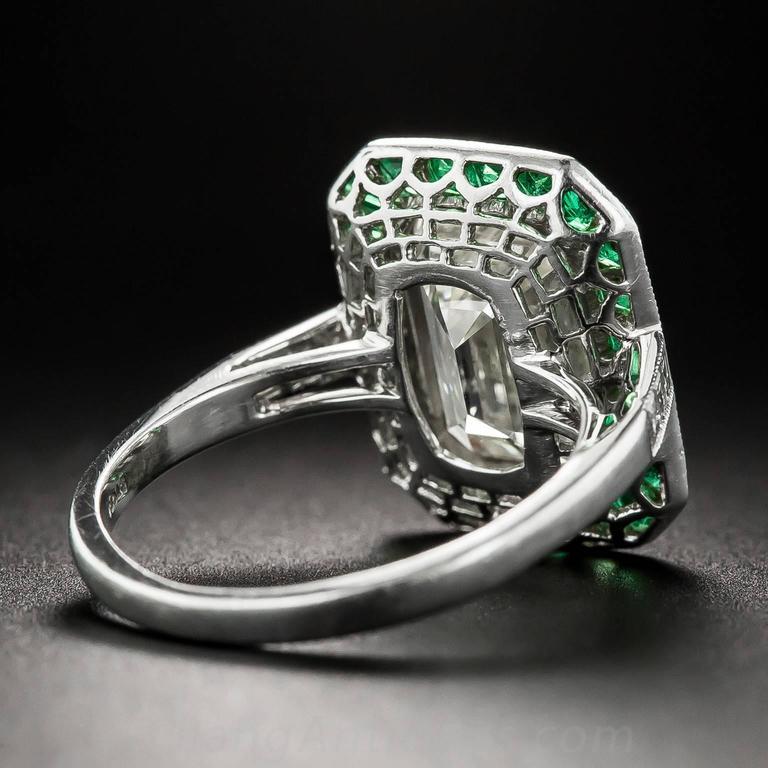 3.00 Carat Emerald-Cut Diamond Emerald Calibre Halo Ring 5