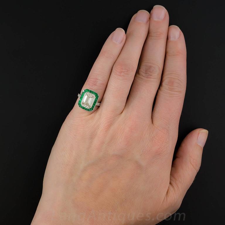 3.00 Carat Emerald-Cut Diamond Emerald Calibre Halo Ring 7
