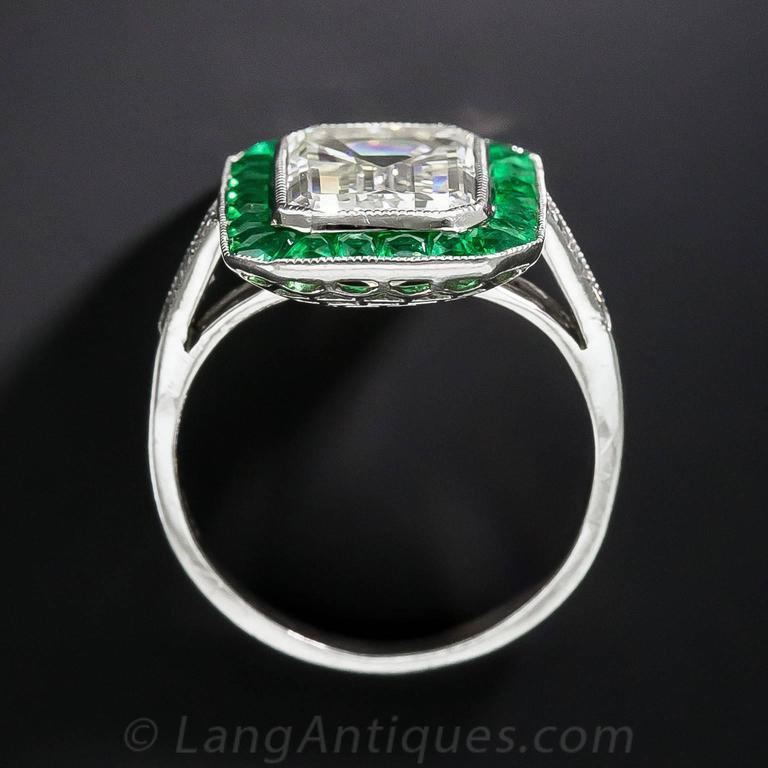 3.00 Carat Emerald-Cut Diamond Emerald Calibre Halo Ring 6
