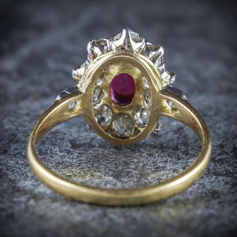 Women's Antique Victorian Ruby Diamond Cluster Ring Platinum 18 Carat Gold, circa 1900 For Sale