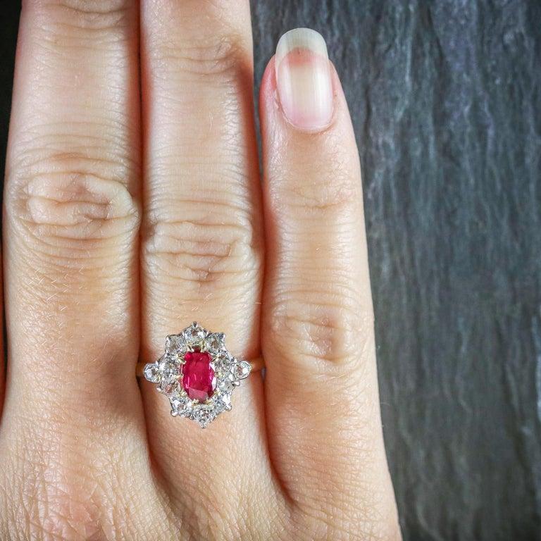 Antique Victorian Ruby Diamond Cluster Ring Platinum 18 Carat Gold, circa 1900 For Sale 3