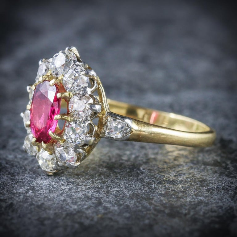 Antique Victorian Ruby Diamond Cluster Ring Platinum 18 Carat Gold, circa 1900 In Excellent Condition For Sale In Lancaster , GB