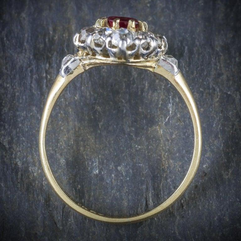 Antique Victorian Ruby Diamond Cluster Ring Platinum 18 Carat Gold, circa 1900 For Sale 2