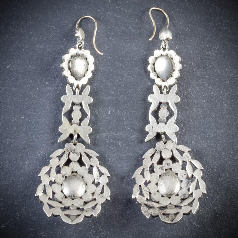 Antique Georgian Drop Earrings Paste Silver, circa 1800 In Excellent Condition For Sale In Lancaster , GB