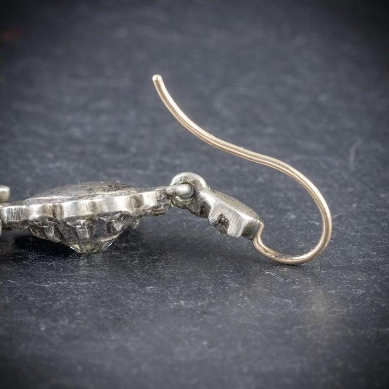 Antique Georgian Drop Earrings Paste Silver, circa 1800 For Sale 1