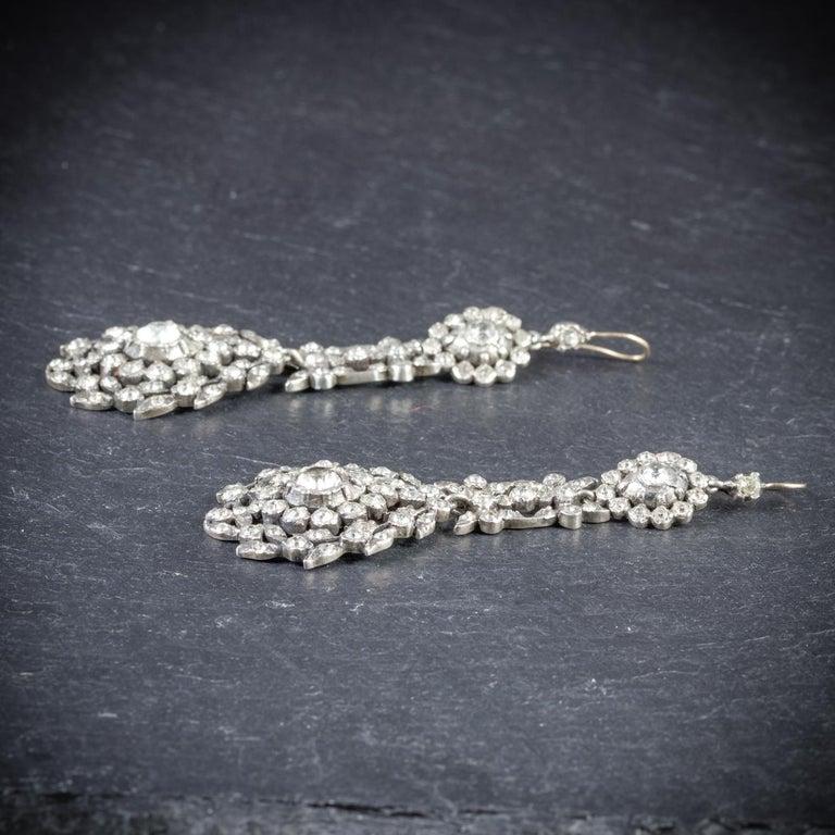Women's Antique Georgian Drop Earrings Paste Silver, circa 1800 For Sale