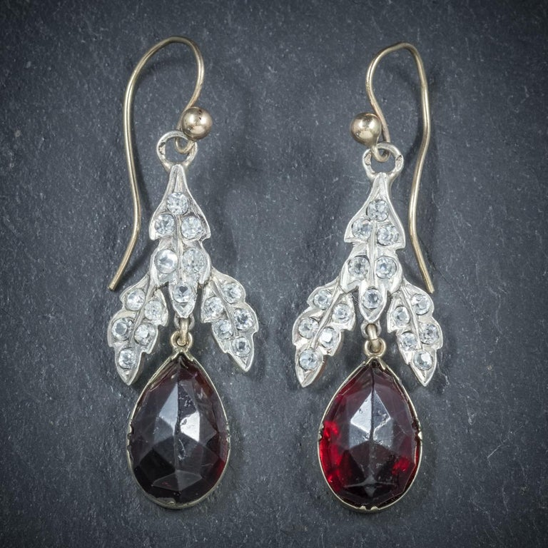These Stunning Antique Garnet Drop Earrings Are Victorian Circa 1880 The Central Gallery Is Decorated