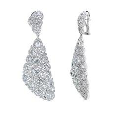 Studio Rêves 18 Karat White Gold, Rose Cut Diamond Carpet Dangling Earrings