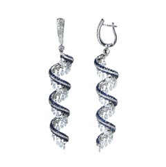 Studio Rêves 18 Karat Gold, Rose Cut and Blue Sapphire Spiral Dangling Earrings