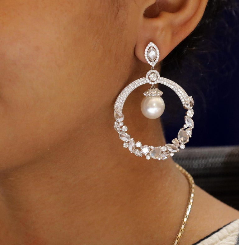 Studio Rêves 18 Karat Gold, Diamonds and South Sea Pearls Dangling Earrings For Sale 1