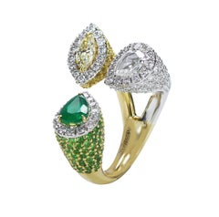 Studio Rêves 18 Karat Gold, Pear Emerald and Diamond Cocktail Ring